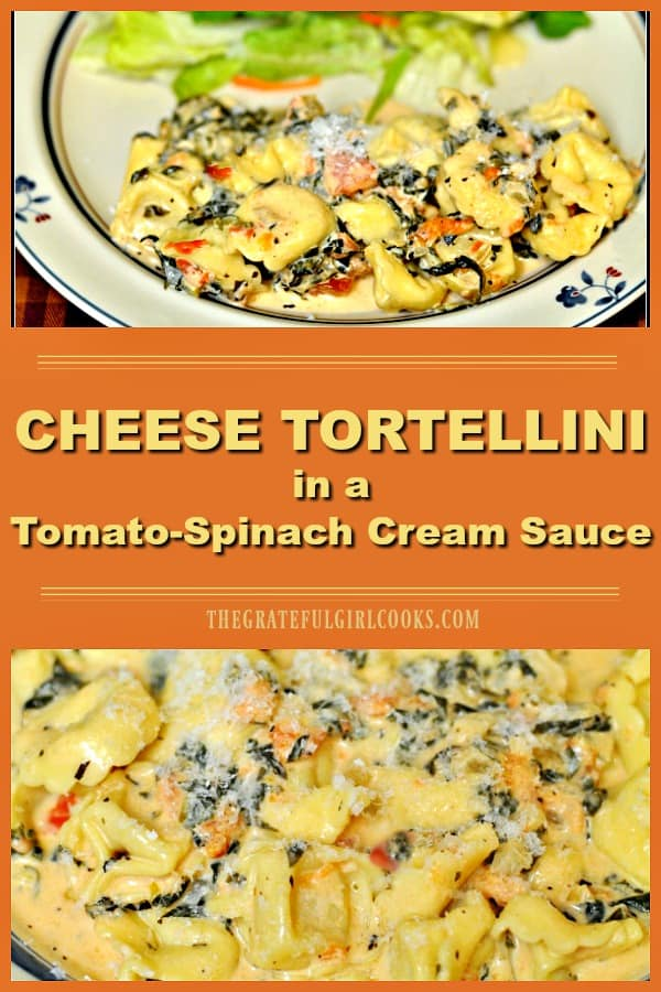 Cheese Tortellini in a Tomato-Spinach Cream Sauce