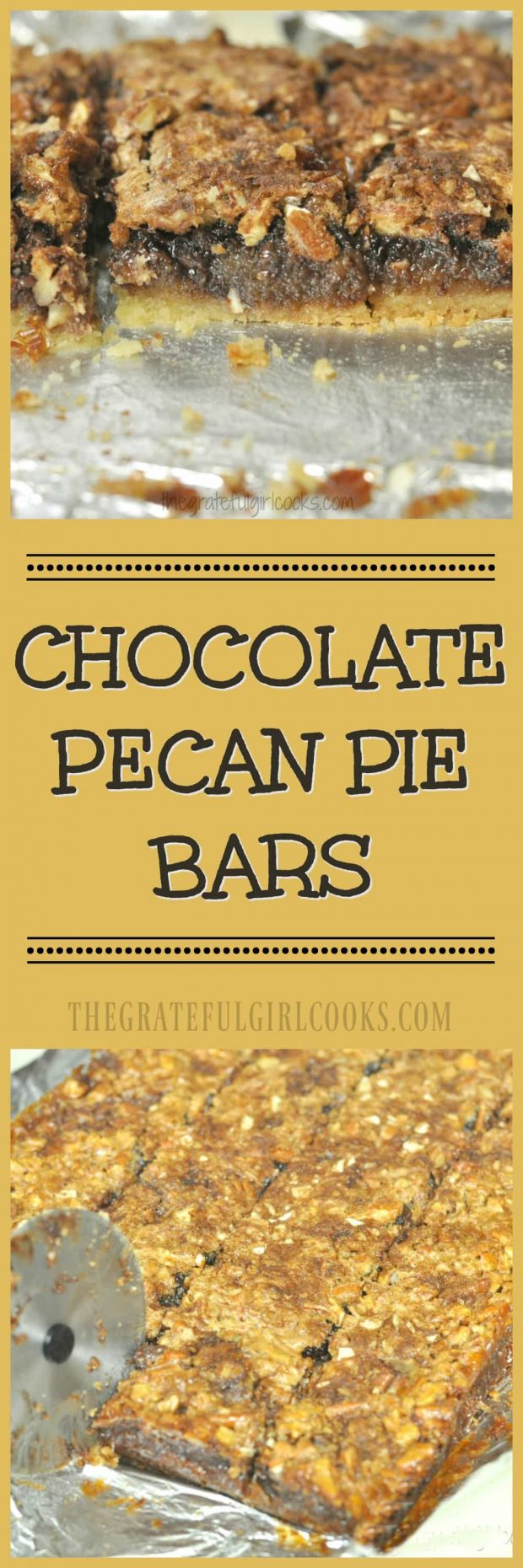 Chocolate Pecan Pie Bars / The Grateful Girl Cooks! Chocolate Pecan Pie Bars... for the win! These delicious treats, with a chewy chocolate and pecan pie filling on a shortbread crust, will be a big hit at your next potluck, family dinner, or get together!