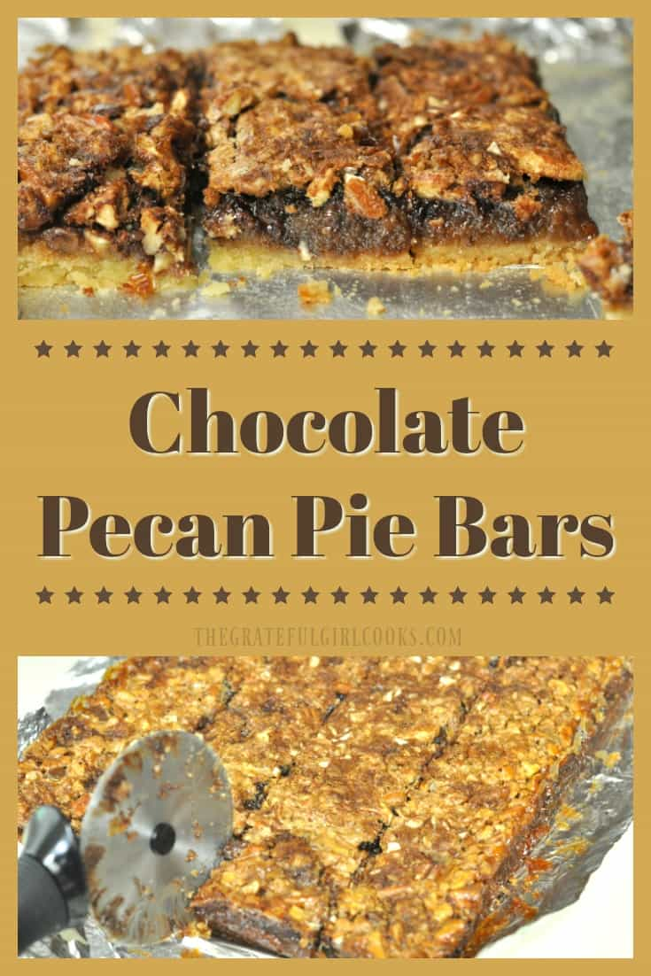 Chocolate Pecan Pie Bars. These delicious bar cookies, with a chewy chocolate and pecan pie filling on a shortbread crust, are always a big hit!