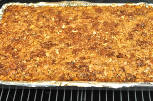 Chocolate Pecan Pie Bars, hot from the oven.