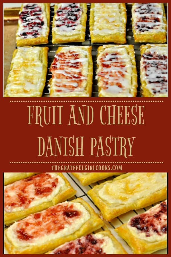 Fruit and Cheese Danish Pastry is an easy to make treat using puff pastry dough, topped with cream cheese filling, assorted fruit jams, and icing.