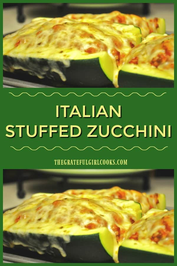 This Italian dish is a BIG, baked stuffed zucchini, cut in half, and filled w/ Italian sausage, tomato sauce, spices, Parmesan and mozzarella cheese.