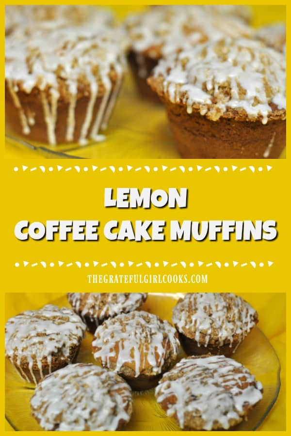 Enjoy one of these jumbo lemon coffee cake muffins with lemon glaze, and start the day with a smile! Make 6 JUMBO muffins or 12 regular muffins.