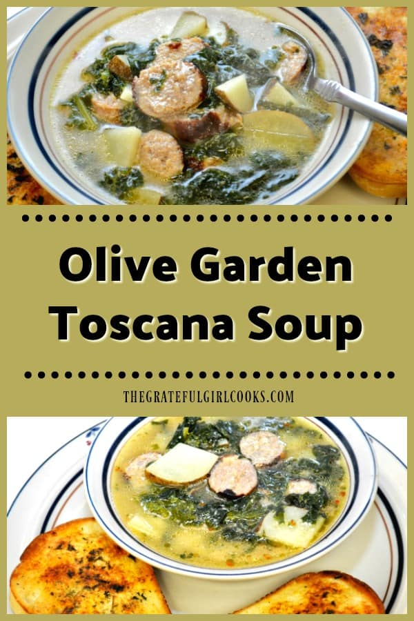 Olive Garden Toscana Soup is a delicious copycat recipe for a beloved, hearty soup with potatoes, Italian sausage and kale, in a seasoned broth!