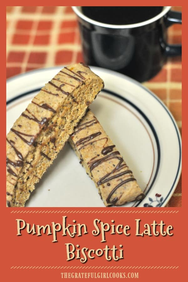 "If you enjoy Fall & pumpkin spiced ""everything"", you'll love pumpkin spice latte biscotti, a yummy, crispy & dunkable cookie with lots of flavor!"