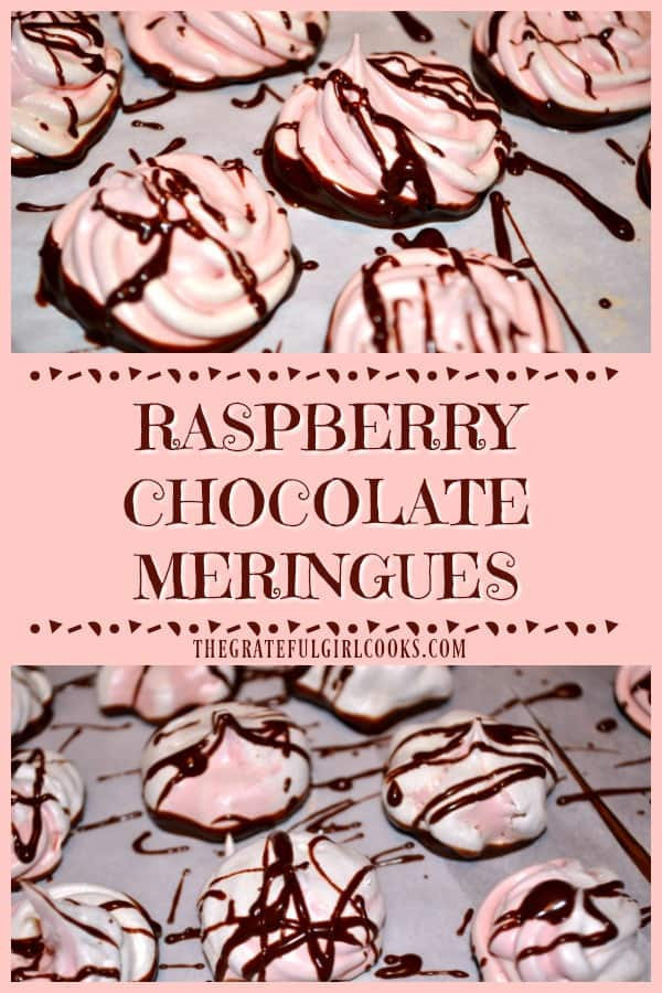 """Raspberry Chocolate Meringues are light, airy, crunchy and delicious """"cookies"""", with the bottom of each meringue dipped in chocolate!"""