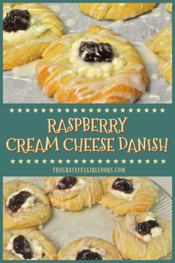 Raspberry cream cheese danish are crescent roll pastries with sweet cream cheese filling, baked and topped with jam, and drizzled with a simple glaze.