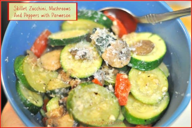 Skillet Zucchini is a delicious veggie side dish, with sautéed mushrooms, red bell pepper, and onions, topped with Parmesan cheese to serve.