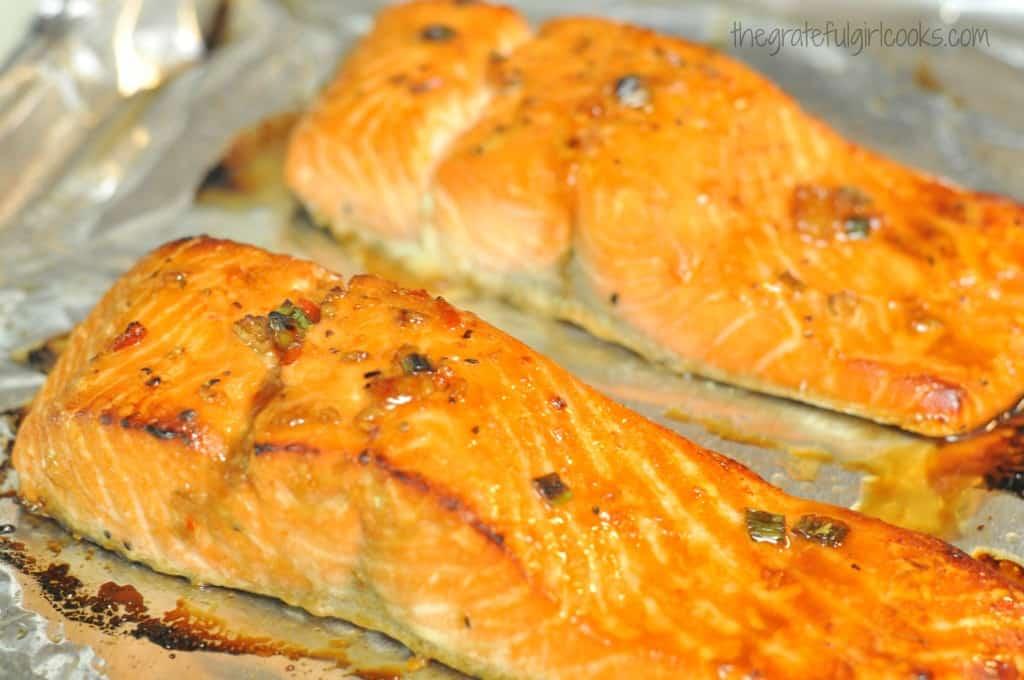 Sweet Chili & Garlic Glazed Salmon / The Grateful Girl Cooks!