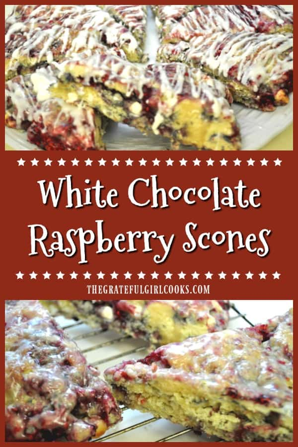 White chocolate raspberry scones are delicious, easy to make treats, filled with white chocolate chips and raspberries, and topped with a sweet glaze.