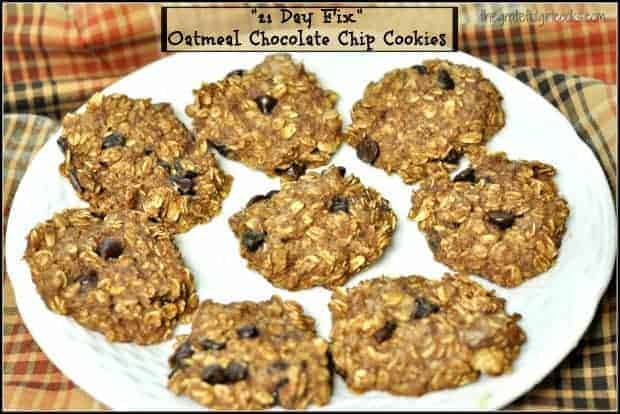 """""""21 Day Fix"""" Oatmeal Chocolate Chip Cookies will satisfy that sweet tooth, with only 5 ingredients, and they're ready in under 20 minutes!"""