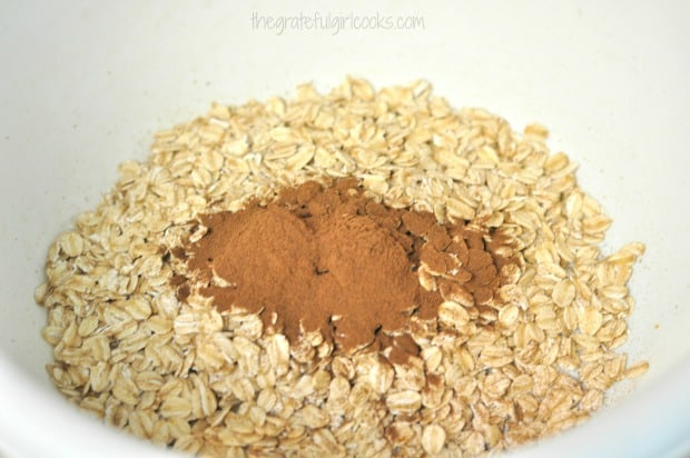 Rolled oats, cinnamon, and salt in bowl, for 21 day fix oatmeal chocolate chip cookies.
