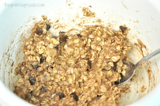 Batter for 21 Day Fix oatmeal chocolate chip cookies.