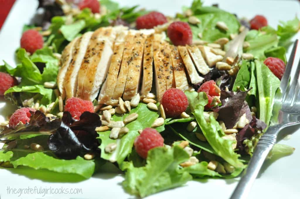 Grilled Chicken & Spring Greens w Raspberry Balsamic Dressing / The Grateful Girl Cooks!