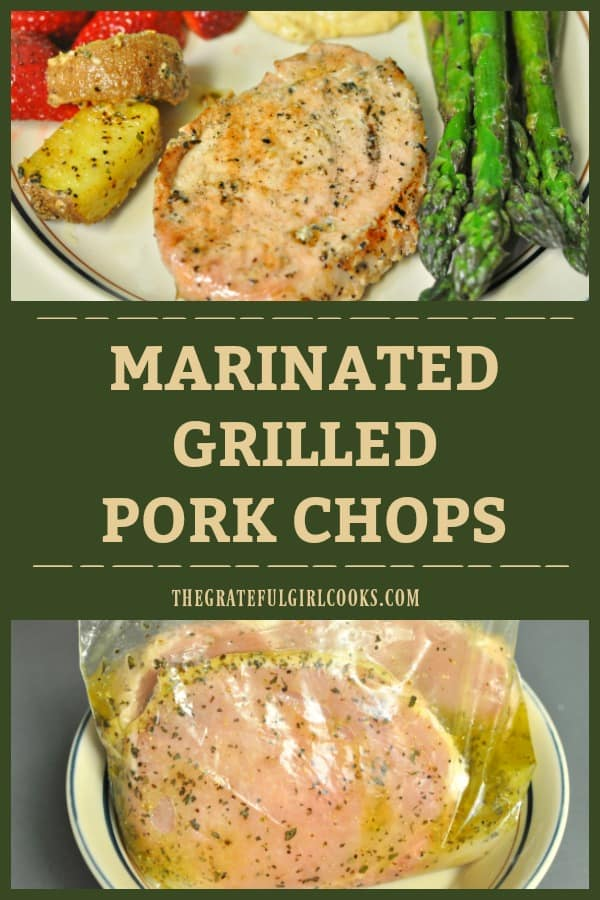 Marinated grilled pork chops feature thick boneless chops, seasoned in a light lemon juice, olive oil and herb marinade, then grilled to delicious perfection!