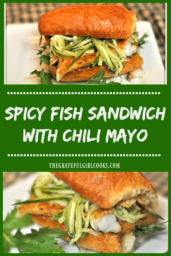 Spicy Fish Sandwich with Chili Mayo is an incredible meal, featuring pan-seared cod, peppery arugula and marinated cucumber strips, served on a toasted roll!