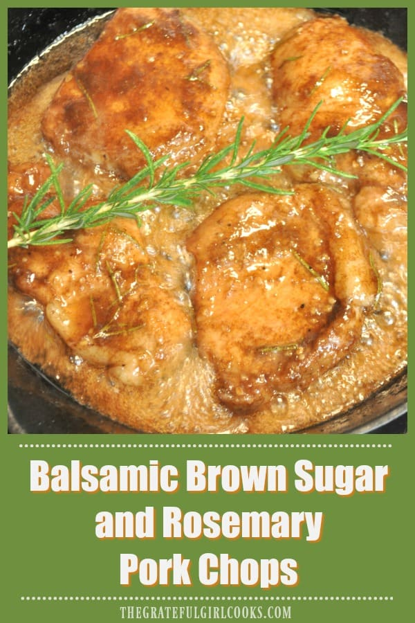 Pork chops are marinated in a balsamic, brown sugar and rosemary sauce, then cooked to perfection on the stove top in this delicious one pan dinner you'll love!