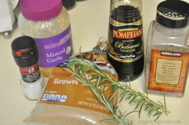Ingredients for marinade plus fresh rosemary sprig