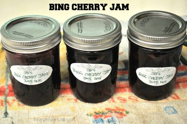 Bing Cherry Jam, enhanced with the addition of amaretto, is a delicious fruit spread for toast or biscuits! Recipe includes canning instructions.