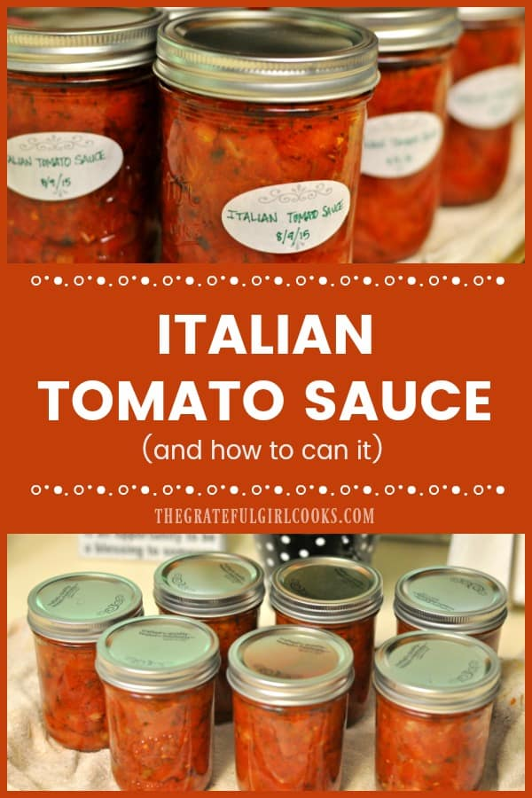 Homemade Italian-style tomato sauce is used in lots of food (pizza, spaghetti, etc.). Learn how to make this classic sauce, and can it for long term storage!