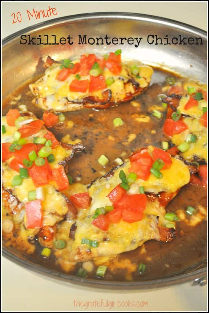 Skillet Monterey Chicken / The Grateful Girl Cooks!  Ready in 20 minutes, this tasty dish features chicken, bacon, BBQ sauce, and cheese! YUM!