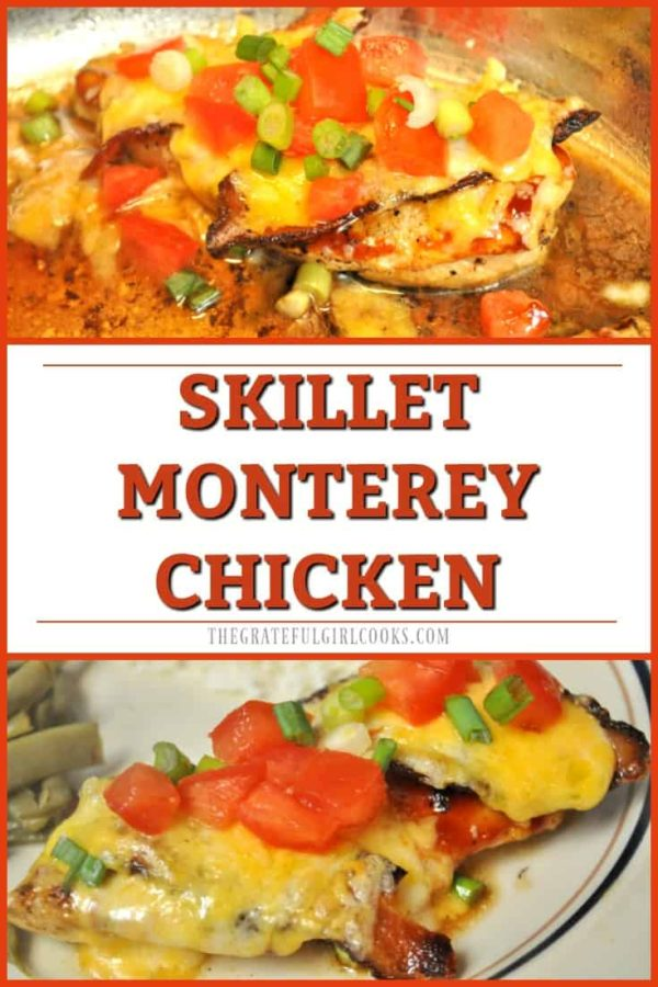 You're going to LOVE this delicious Skillet Monterey Chicken, which can be made in 20 minutes, and features chicken breasts, bacon, BBQ sauce, and cheese!
