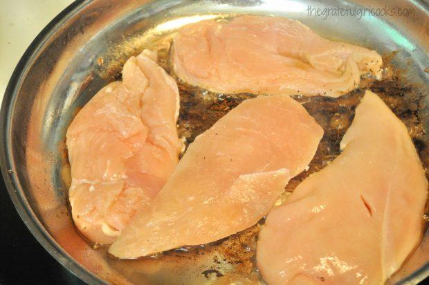 Cooking chicken breasts for skillet Monterey chicken dish.