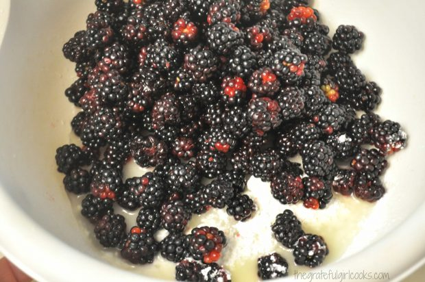 Blackberries, sugar and lemon juice in large bowl