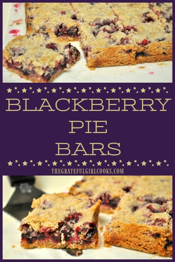 You'll LOVE these delicious dessert Blackberry Pie Bars, made with fresh juicy blackberries baked on a shortbread crust, with a buttery streusel crumb topping.