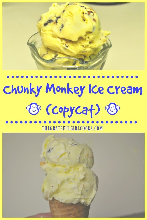 A copycat recipe for yummy chunky monkey ice cream - with bananas, chocolate chunks and toasted pecans helping to make this frozen treat amazing!