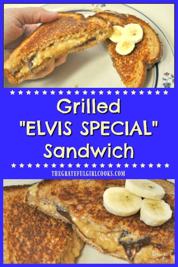 "A Grilled ""Elvis Special"" Sandwich is a hunk, a hunk of burnin' love! Peanut butter, banana, and chocolate cooked on buttered bread would even make Elvis proud!"
