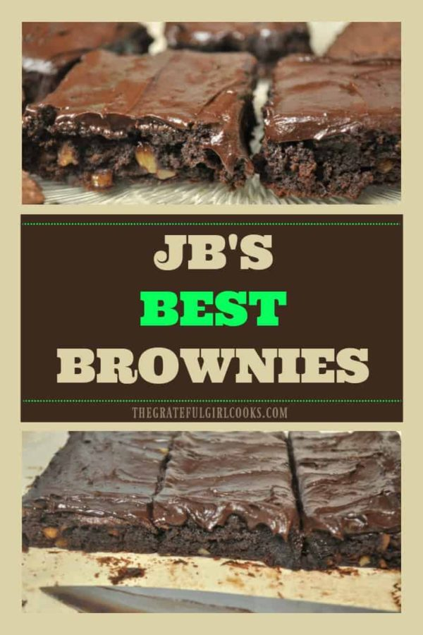 JB's Best Brownies are amazing! These classic bar cookies are easy to make, chewy, moist, and fudgey, and taste fantastic - with or without frosting!