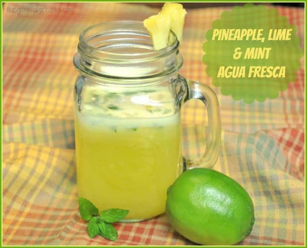 Make cold, refreshing Pineapple, Lime and Mint Agua Fresca in 5 minutes! It's a family friendly, fresh fruit beverage with only 75 calories per serving!