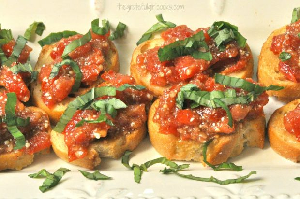 Italian seasoned tomato mixture and Italian flavored tomatoes top Classic Bruschetta.
