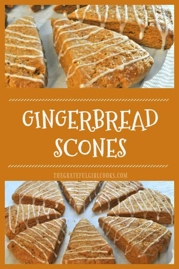Gingerbread Scones / The Grateful Girl Cooks! Gingerbread Scones flavored with cinnamon and molasses and drizzled with vanilla glaze are a delicious family treat during the holidays or any time!