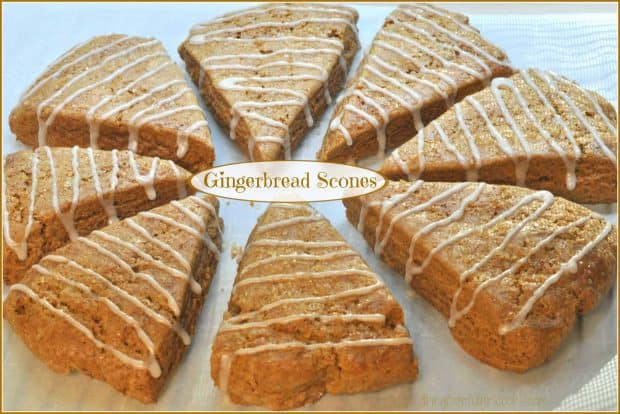 Gingerbread Scones flavored with cinnamon and molasses and drizzled with vanilla glaze are a delicious family treat during the holidays or any time!