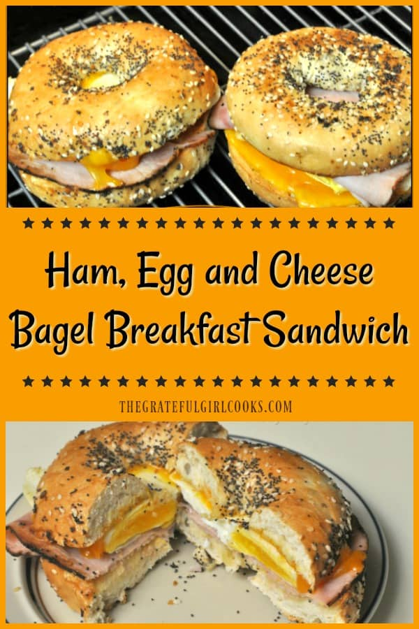 You'll love this hearty, delicious and filling bagel breakfast sandwich, with egg, ham and cheese, which can be ready in under 10 minutes!