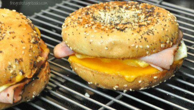 Ham, Egg & Cheese Bagel Breakfast Sandwich is ready to eat!