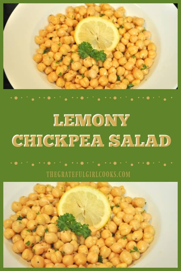 Lemony Chickpea Salad is a quick (5 minute), easy and healthy side dish, featuring chickpeas (garbanzo beans), in a light lemon, olive oil, and garlic dressing.