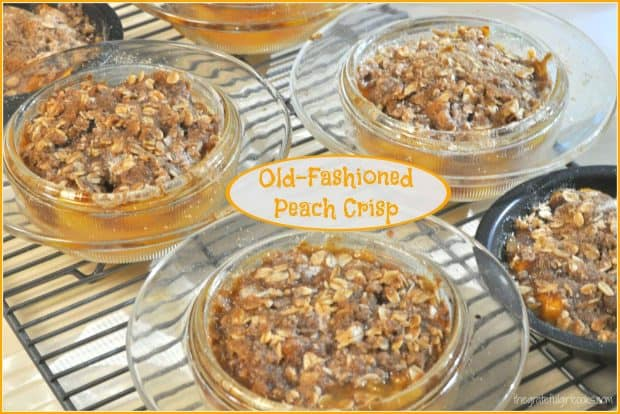 Is anything better than delicious Old-Fashioned Peach Crisp? Make individual sized desserts with fresh peaches, and top it with a streusel crust!