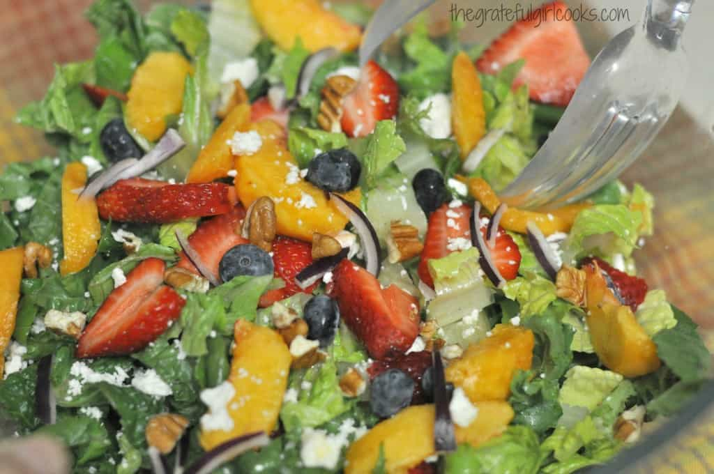Summer Fruit Medley Green Salad / The Grateful Girl Cooks!