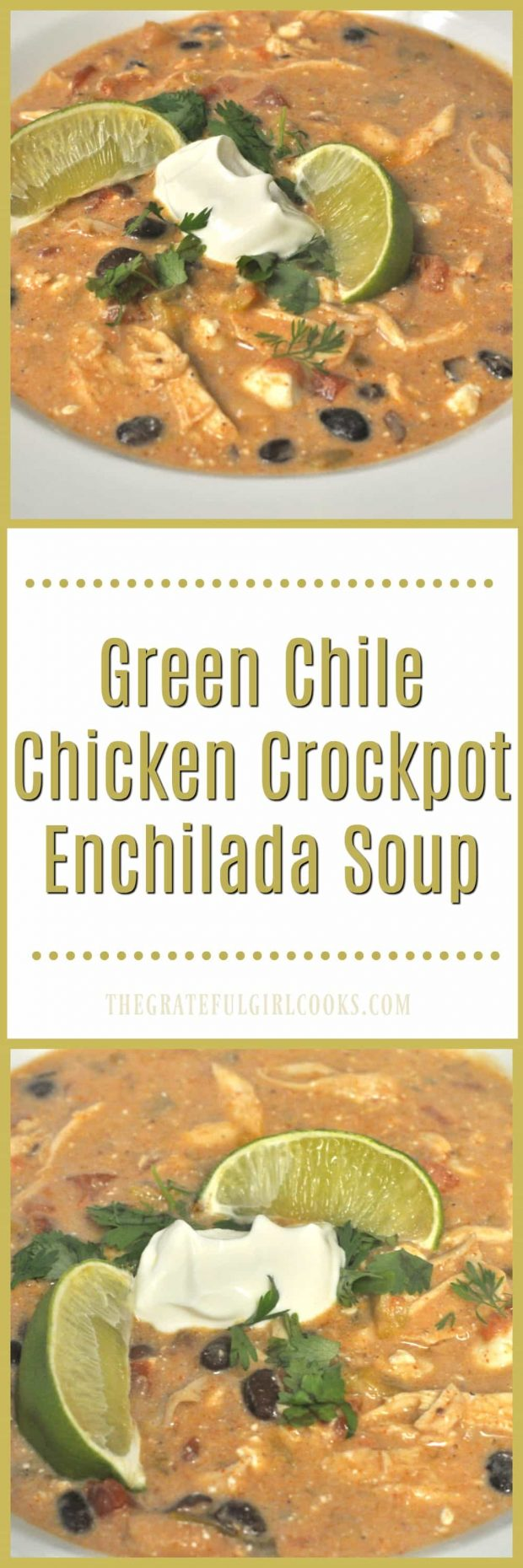 Green Chile Chicken Crockpot Enchilada Soup / The Grateful Girl Cooks! Creamy Green Chile Chicken Crockpot Enchilada Soup is an amazingly delicious Southwest inspired meal, conveniently made in a slow cooker!
