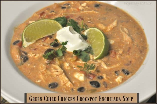 Creamy Green Chile Chicken Crockpot Enchilada Soup is an amazingly delicious Southwest inspired meal, conveniently made in a slow cooker!