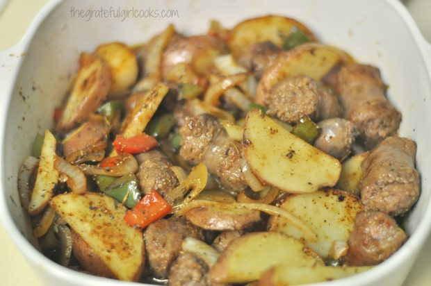 Italian Sausage Potato Casserole, after it is baked for 25 minutes.