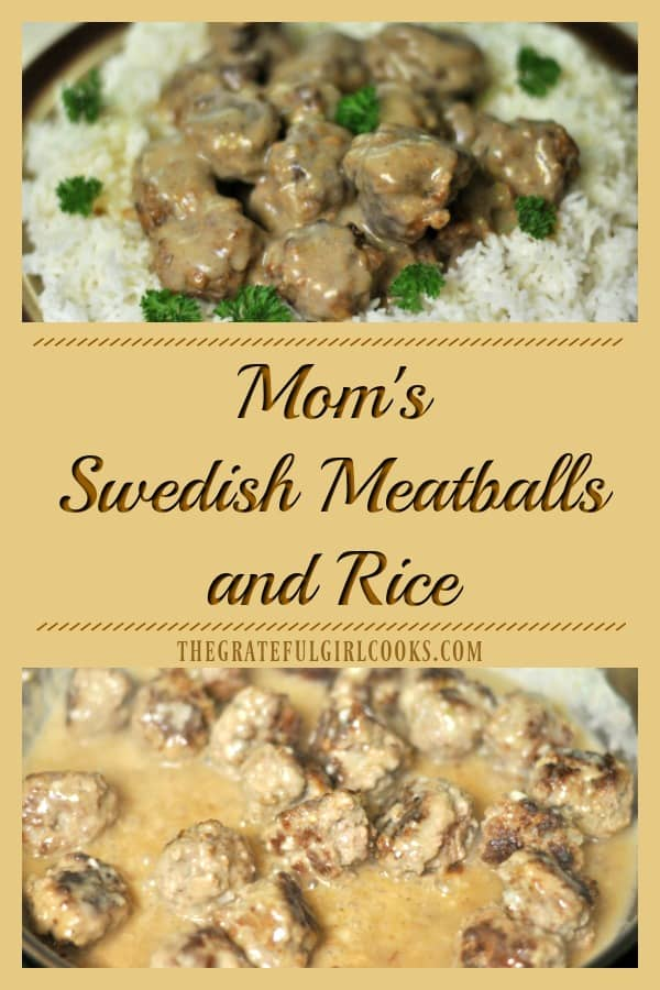 This family and budget friendly dinner of Swedish meatballs, rice and gravy feeds 6 with one pound of hamburger meat... and it's delicious!