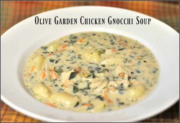 Olive Garden Chicken Gnocchi Soup / The Grateful Girl Cooks! This copycat version tastes fantastic and is ready in 30 minutes!