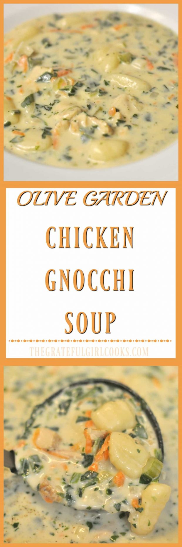 Long pin for copycat version of Olive Garden's chicken gnocchi soup