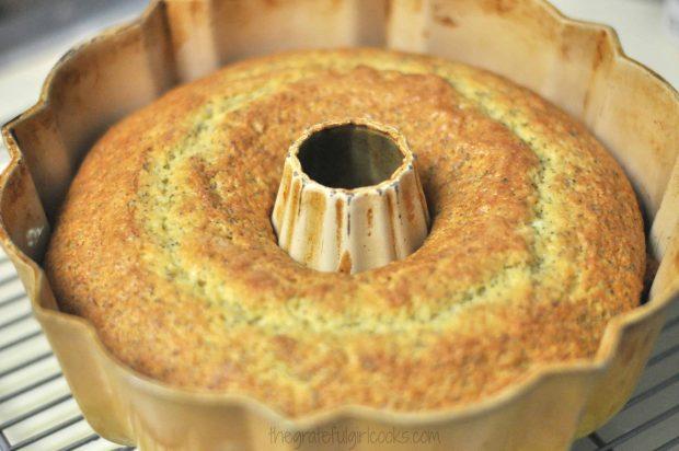 Fully baked poppyseed cake in bundt pan on rack