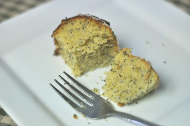 A fork and bite of the poppyseed cake on a white plate.