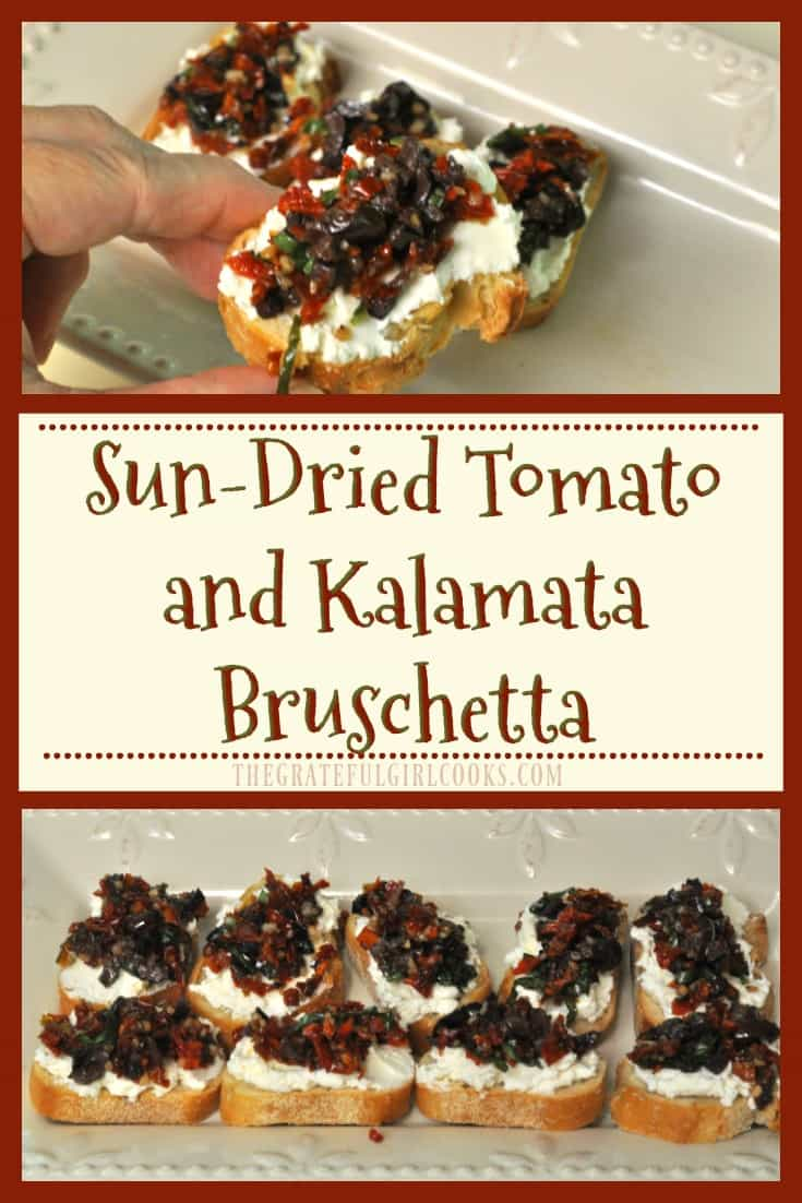This delicious appetizer features garlic crostini with feta and cream cheeses, kalamata olives, sun-dried tomatoes and fresh basil!